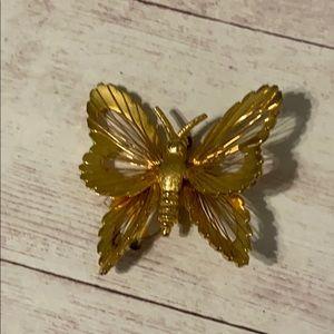 Vintage Monet Gold Butterfly Brooch